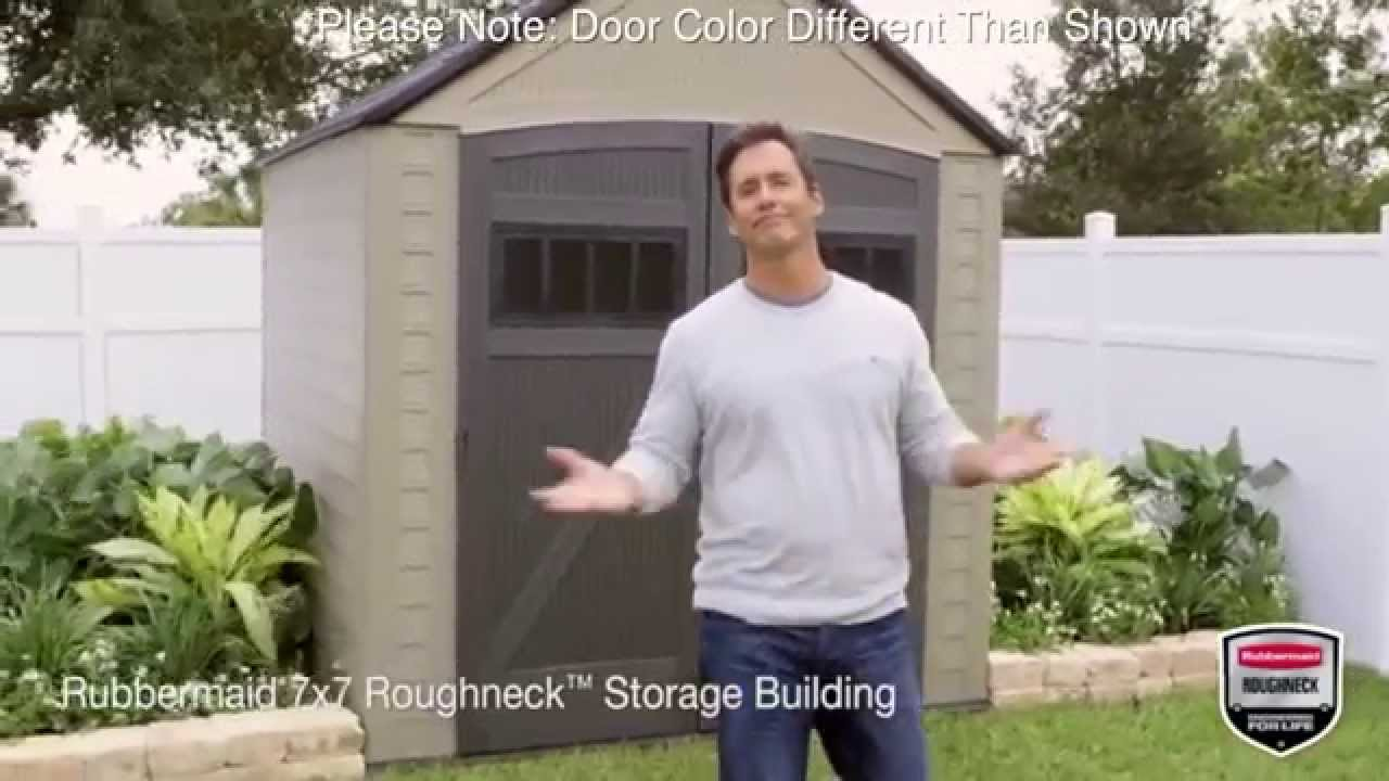 rubbermaid roughneck xl 7x7 outdoor storage shed 5h80 youtube