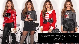 5 WAYS TO STYLE A HOLIDAY SWEATER | Lina Noory