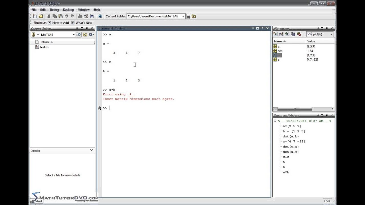 Matlab - Sect 25 - Calculating the Vector Dot Product and ...