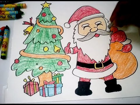 How To Draw Christmas Tree Santa Claus Very Easy Youtube