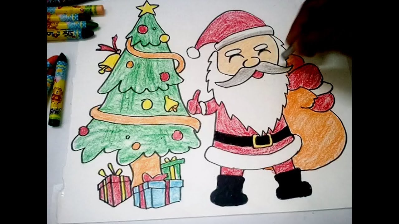 How to Draw Christmas Tree Santa Claus very Easy - YouTube
