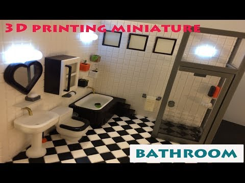 Miniature Bathroom 3D Printing. Real Working Toilet , Tub & Shower Booth!