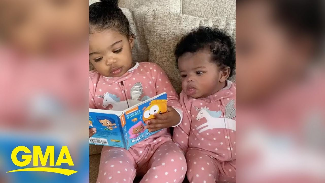 This 2-year-old girl trying to read to her little sister is too cute | GMA Digital
