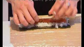 Приготовление ролла с лососем