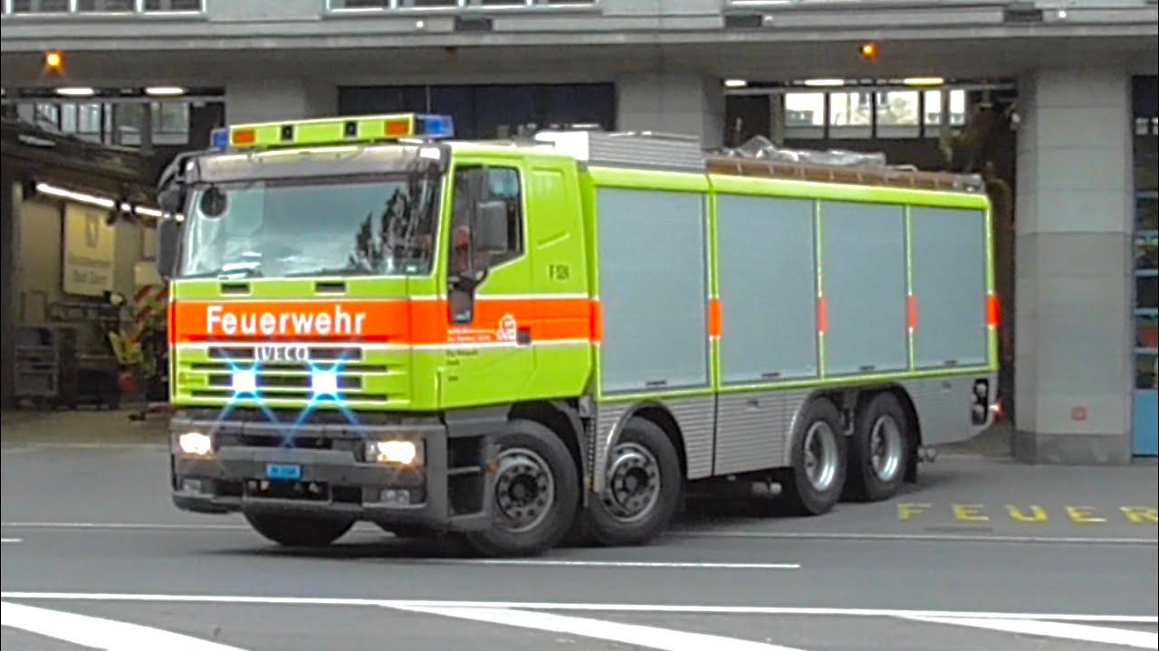 Download [Universallöschfahrzeug] Ausrücken BF Zürich | ELW + Doppel TLF + ULF + RTW Schutz & Rettung Zürich