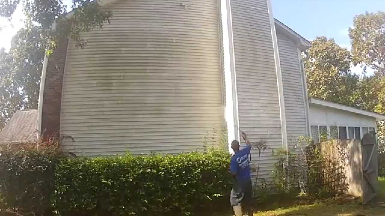 Dirty Two Story Vinyl Siding House Cleaned Without A