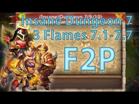 Castle Clash: 3-Flaming Insane Dungeon 7 (1-7) F2P
