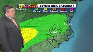 Abc11 is in first alert mode as most of central and northern north carolina are at risk for severe weather on saturday: https://abc11.tv/2wnqa8f