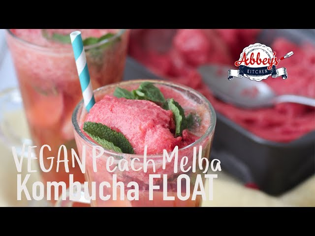 VEGAN Peach Melba Kombucha FLOAT | Healthy Probiotic | Gluten Free Summer Desssert