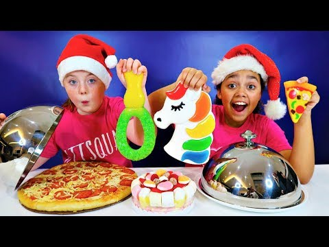 REAL FOOD VS GUMMY FOOD CHALLENGE!! Christmas Edition
