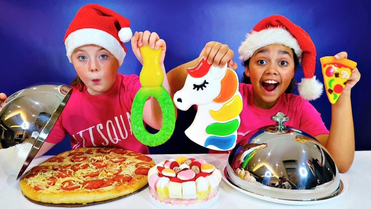 Real Food Vs Gummy Food Challenge Christmas Edition