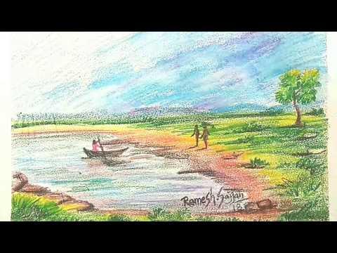 Watercolor pencil Landscape painting-11