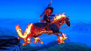 Assassins Creed Odyssey Fire Armor & Cerberus's Offspring Horse Underworld Mythical Pack Gameplay