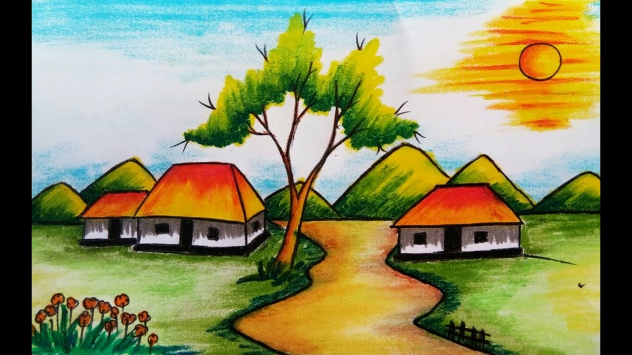 How to draw a beautiful pastel colour village scenery for kids 2017 ...