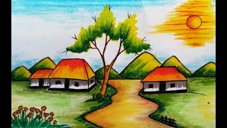 drawing colour pastel coloured landscape draw scenery village drawings paintingvalley
