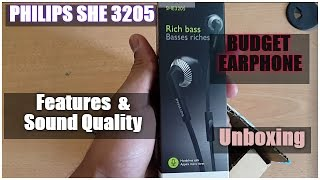 Philips SHE3205 Earphones With Mic | Unboxing Review Sound Test | BUDGET Earphone under 800