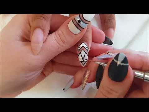 Abstract Lines Nail Art Design