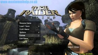 Tomb Raider Legend Title Menu with Lara posing in Full HD 1080p