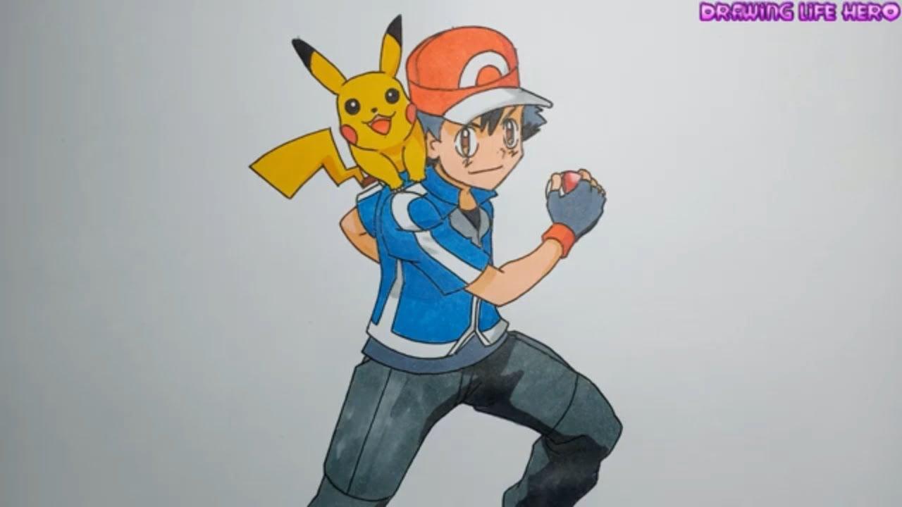 Cách vẽ Satoshi ASH và Pokemon Pikachu