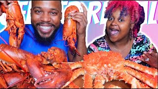 GENDER REVEAL!!! WHOLE KING CRAB + WHOLE LOBSTERS SEAFOOD BOIL MUKBANG 먹방 EATING SHOW