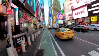 ⁴ᴷ⁶⁰ Cycling NYC : Midtown Manhattan via Broadway from 59th Street to 14th Street
