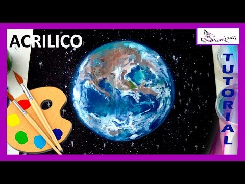 COMO PINTAR El Planeta TIERRA 🎨 TUTORIAL con  Pintura Acrílica   Paint the earth in Acryilic