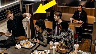 Teens Mock Boy At Burger King, Don't Notice Man On Bench