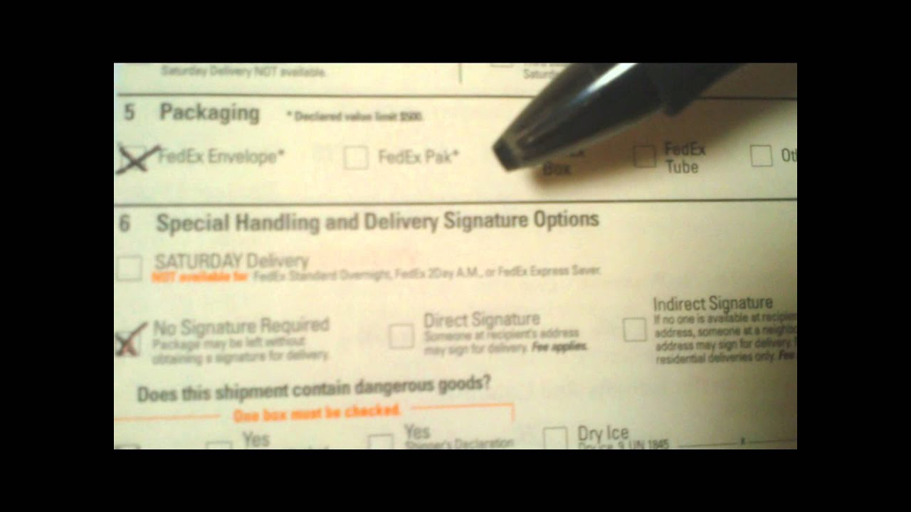 Fedex 101 Filling Out A Domestic Airbill Youtube