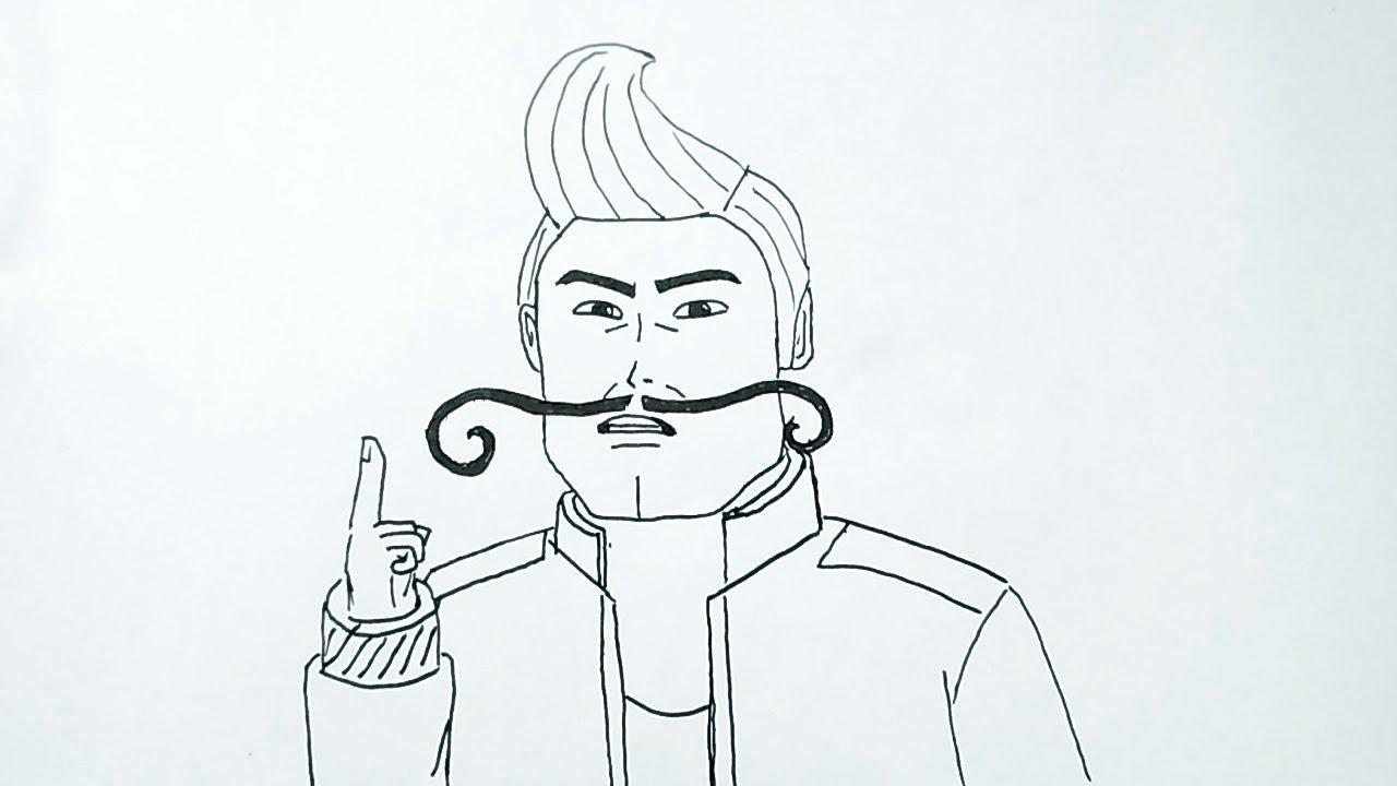 Menggambar General Rama versi kartun 2D Animasi Ejen Ali