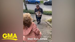 This dad proved the family that exercises together stays together l GMA Digital