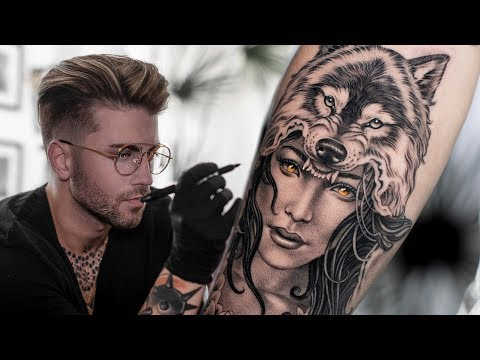 WOLF HEADDRESS TATTOO TIME LAPSE