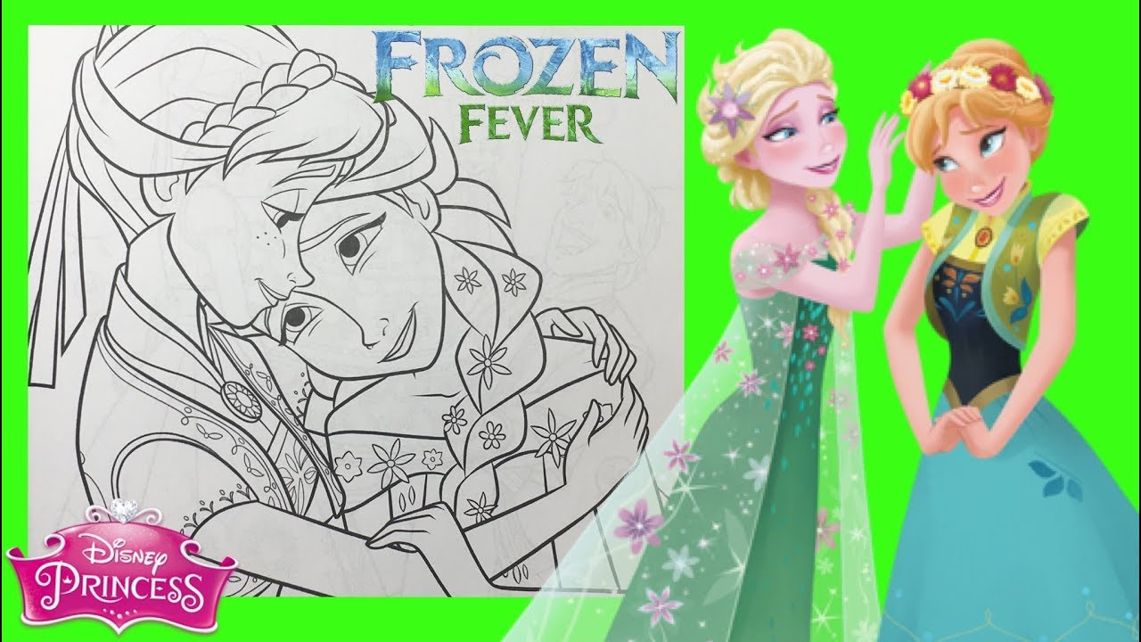 Coloring Pages Frozen Fever Disney Princess Anna and Elsa for kids ...