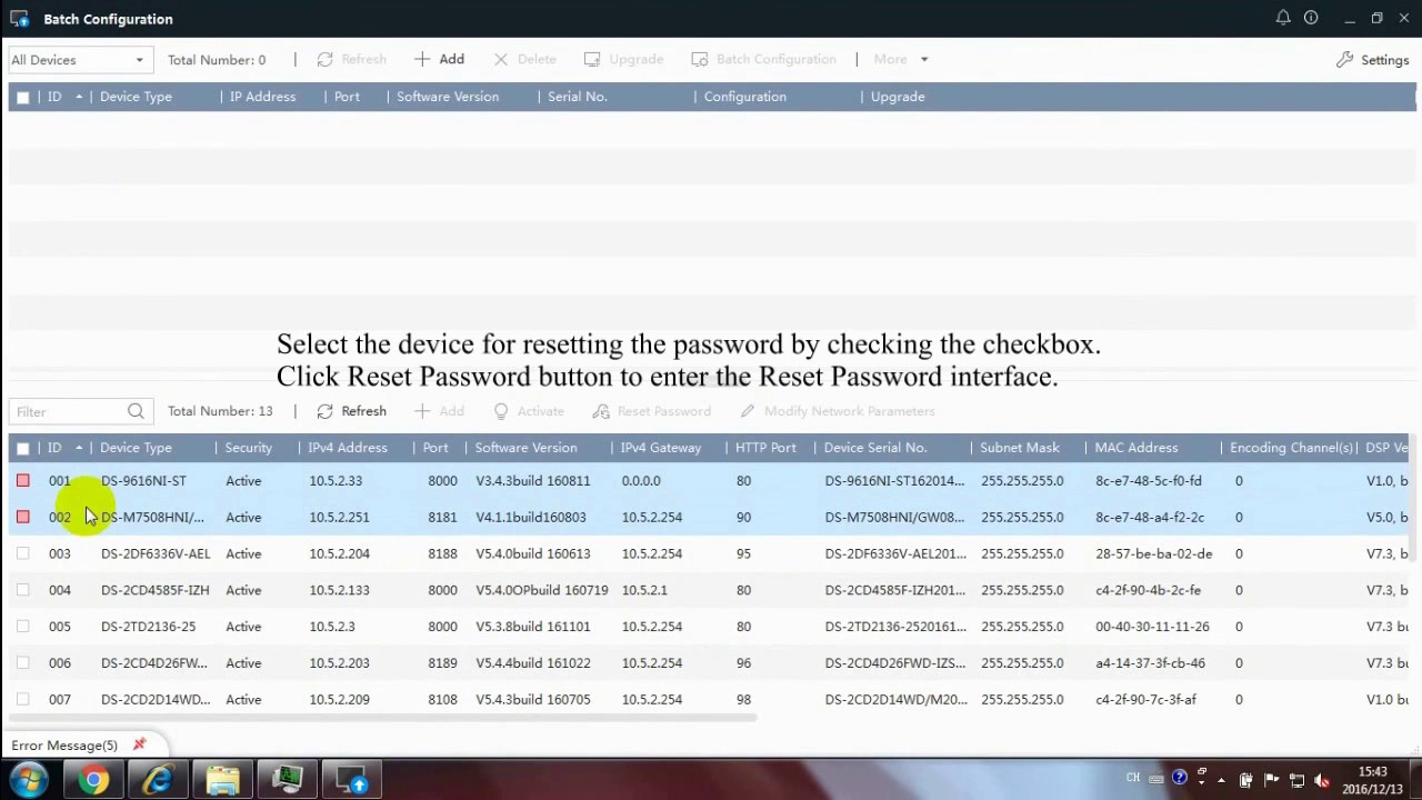 How to reset a password on a Hikvision Device using the Hikvision batch tool