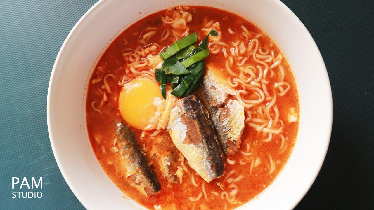 มาม่าปลากระป๋องใส่ไข่ วิธีต้มมาม่าให้อร่อย  Thai Tomyum Instant Noodles With Sardines| Pam Studio