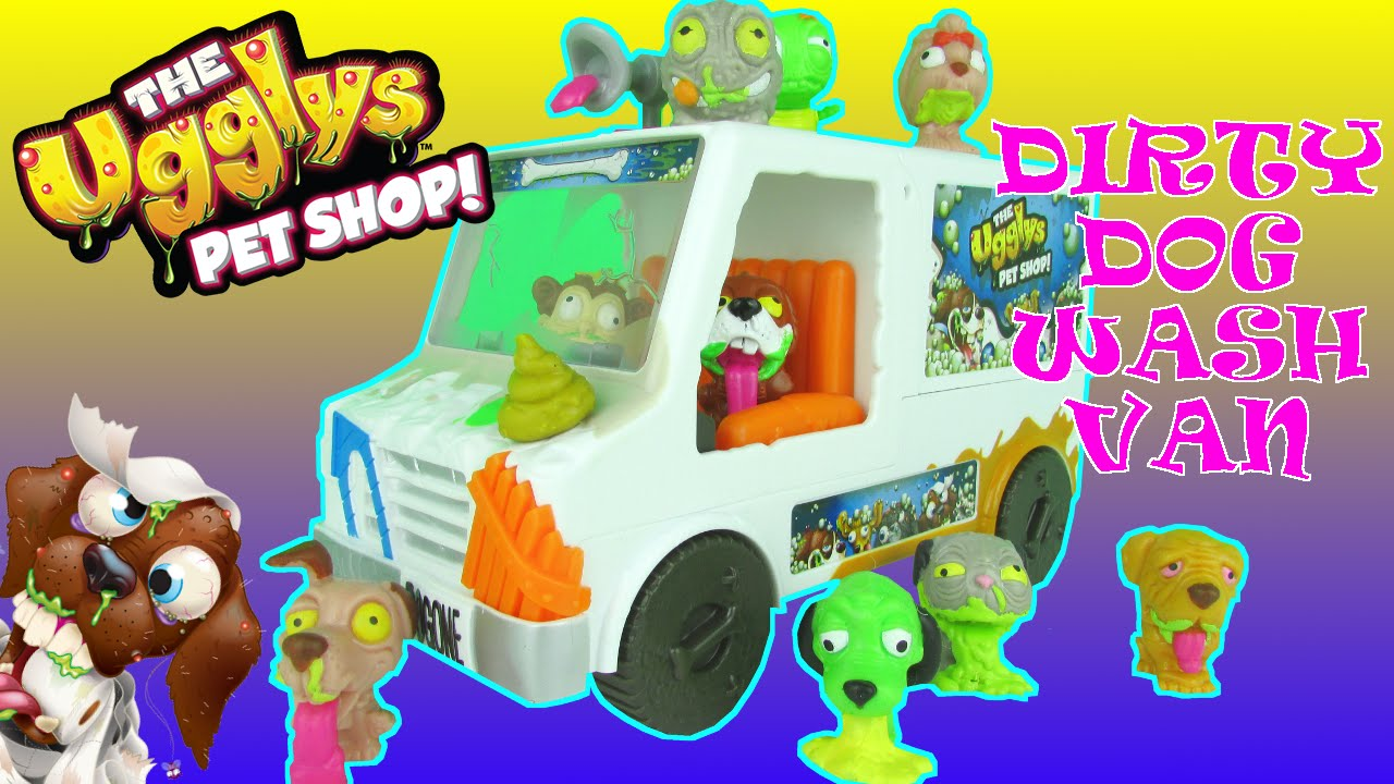 07167f61c9 The UGGLYS Pet Shop TOYS Dirty Dog Wash Van Playset Funny Toy Review ...