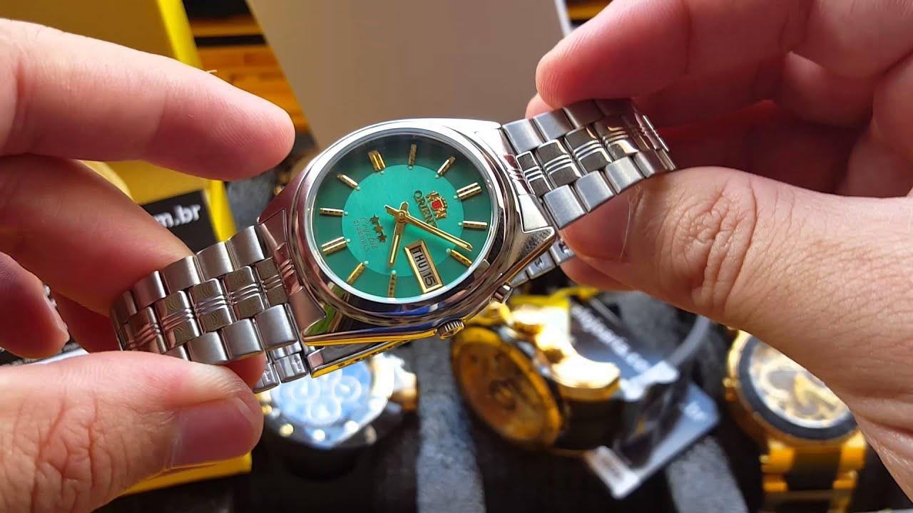 Relógio orient 3 estrelas automático calendário Aço Inox Original  Altarelojoaria 30c0415d65