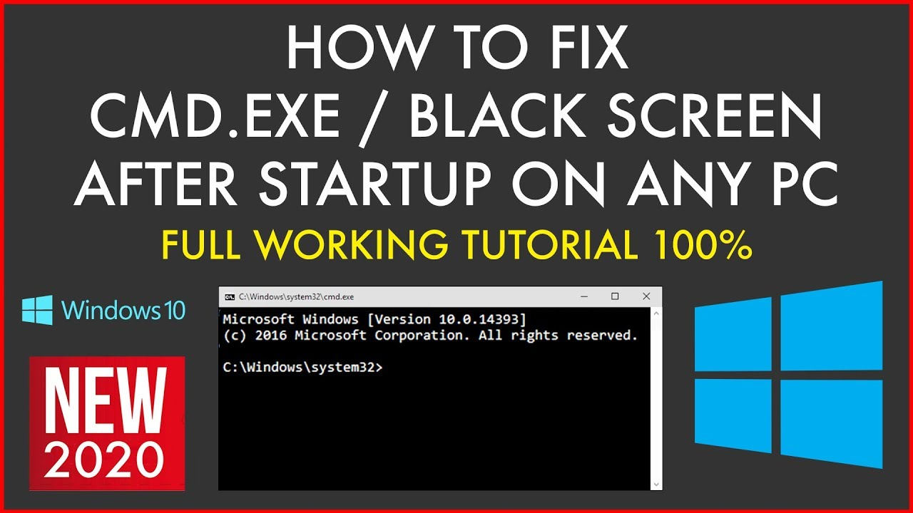 How To Fix Black Screen After Startup On Any PC CMD.EXE Boot ...