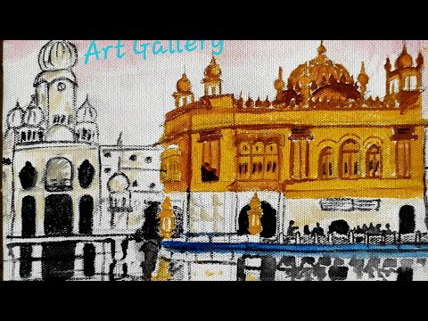 Painting the Golden temple,Shri Darbar  Sahib, Amritsar with watercolours on canvas