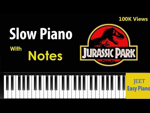 Easy Piano for beginners Jurassic park theme slow /easy piano tutorial jurassic park