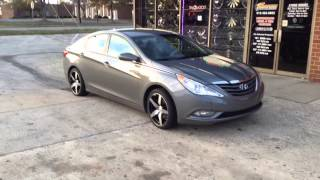"2013 Hyundai Sonata on 18"" Black/Machined Spec1 SP4S with 225/40/18 Lexani Tires at RIMTYME DURHAM Thumbnail"