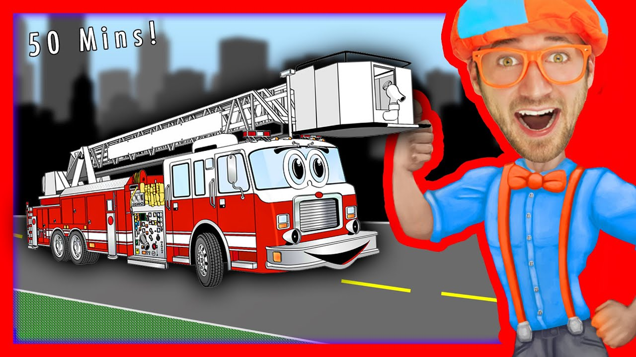 Blippi Songs for Kids | Nursery Rhymes Compilation of Fire Truck and more - 50 MINS!
