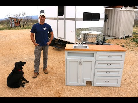 How To Build A DIY Travel Trailer:  Kitchen Cabinets, Sink, Stove (Part 9)