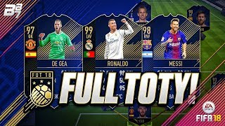 FULL TOTY TEAM! w/ 99 RONALDO AND 98 MESSI! | FIFA 18 ULTIMATE TEAM SQUAD BUILDER