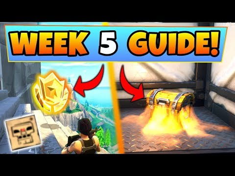 Fortnite WEEK 5 CHALLENGES GUIDE! – TREASURE MAP, Dusty Divot Chests (Battle Royale Season 4)