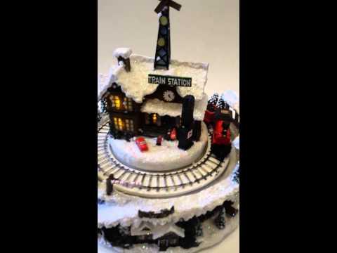 Roman Inc. Musical Christmas Train Station Scene