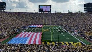 Michigan Stadium 9-11 remembrance flags and F-35's flyover