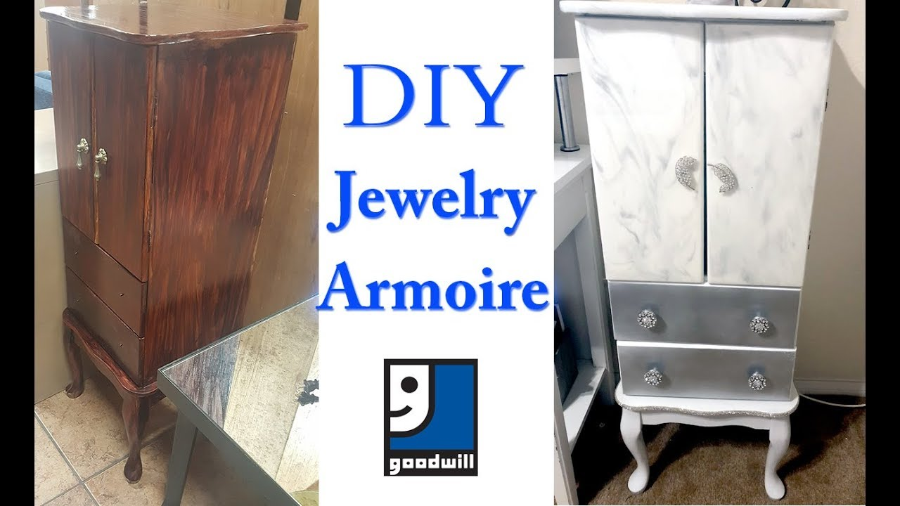 Diy Jewelry Armoire  $10 Goodwill Find  Youtube