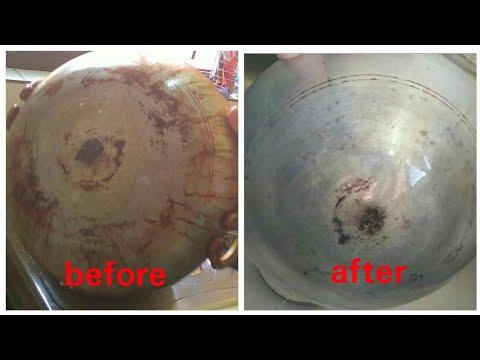 HOW TO CLEAN A BURNT ALUMINUM KADAI IN TELUGU||Easy way to wash aluminium  kadai.