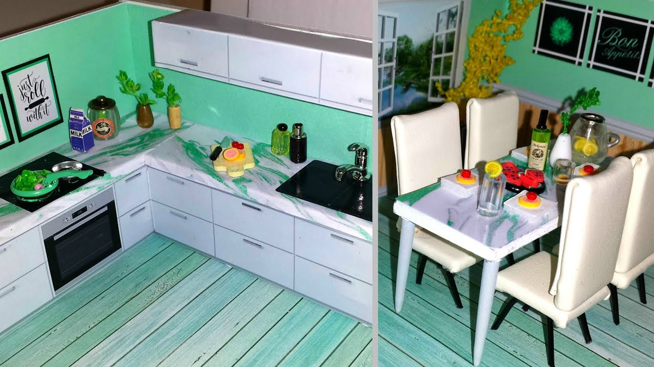 DIY Miniature Dollhouse Kitchen   Mint   - YouTube