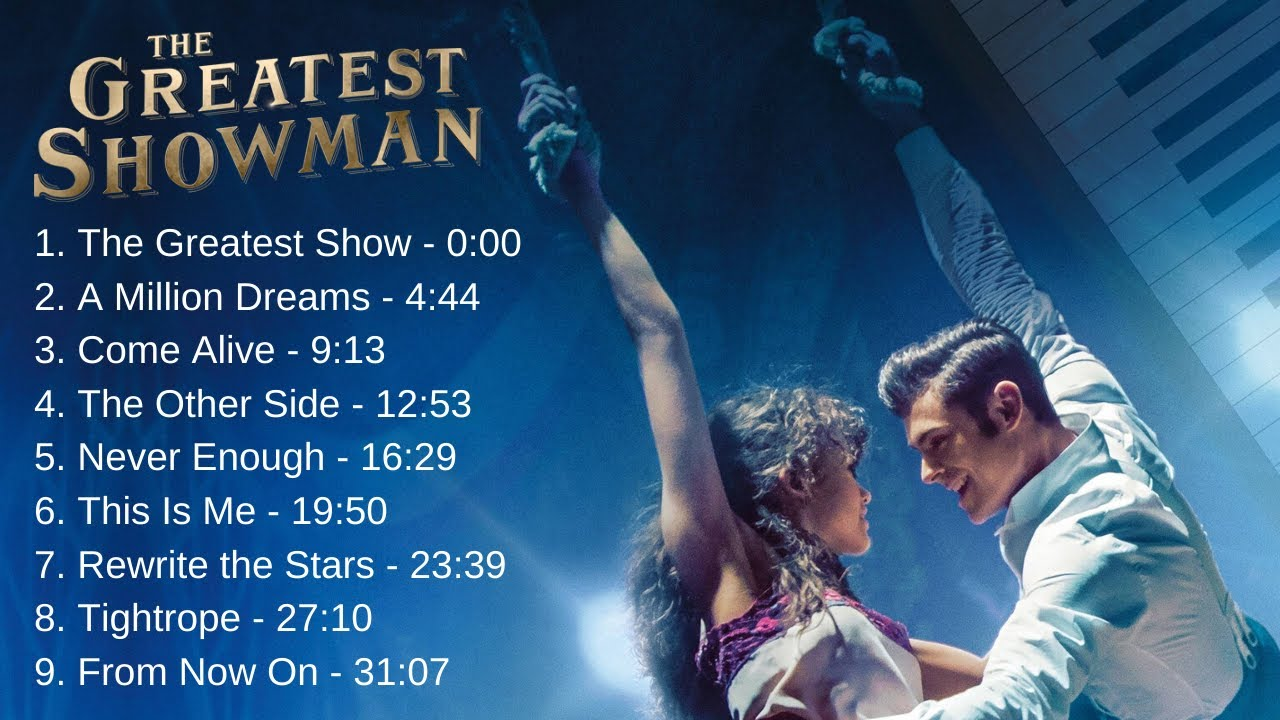 The Greatest Showman All Songs Instrumental Piano Music Youtube